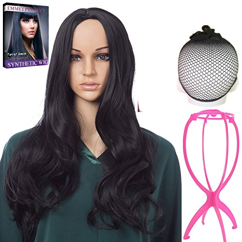 Emmet Long Wavy Synthetic Full Wigs Ombre Color Women's Quality Kanekalon Big Spiral Curly Cosplay Party Costume Wig with Free Wig Cap & Free Wig Stand Holder & Free Ebook (Black) (Emmet Costume For Sale)