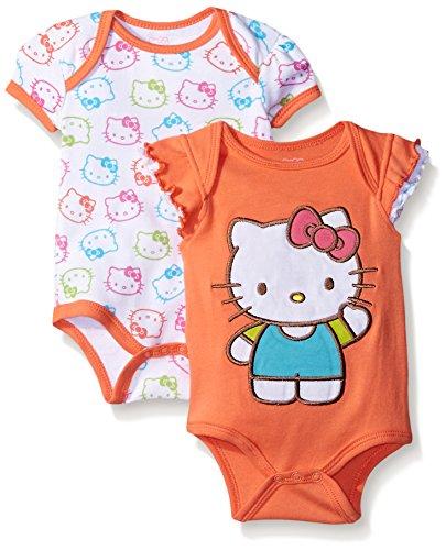 Hello Kitty Baby Girls 2 Pack Bodysuit Allover Face Print