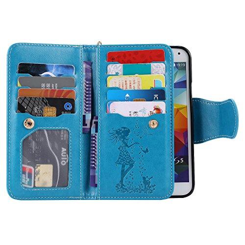 Ultra Slim Case para Galaxy S5/S5 NEO Funda Libro Suave PU Leather Cuero- Sunroyal ® Bookstyle Cobertura Wallet Case Con Flip Cover Cierre Magnético,Función de Soporte Billetera con Tapa para Tarjetas C-03