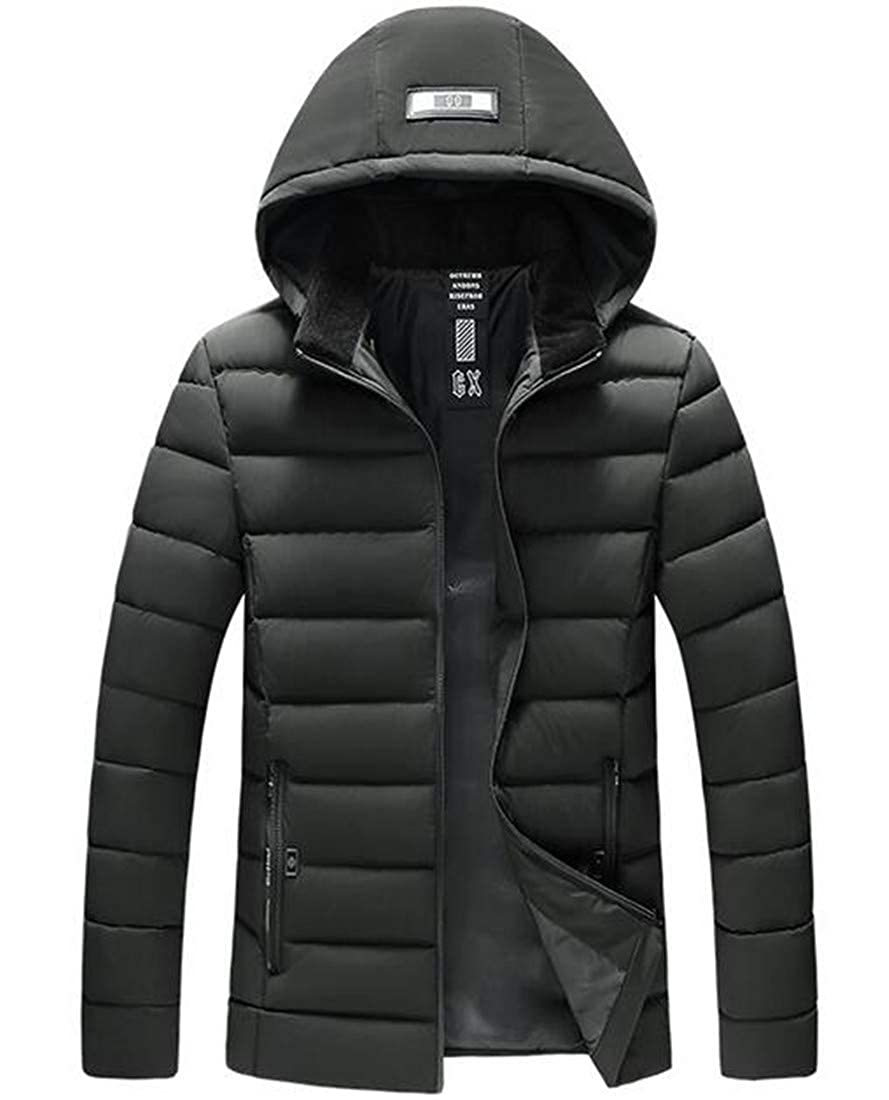 YYear Mens Winter Warm Zip Off Thick Office Parka Overcoat Outwear Down Jacket