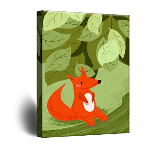 Cute Cartoon Animals A Red Fox in The Forest Kid