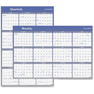 AT-A-GLANCE 2014 Vertical and Horizontal Erasable Yearly Wall Planner, 48 x 32 Inch Page Size (A1152) -  ACCO Brands, AAGA1152