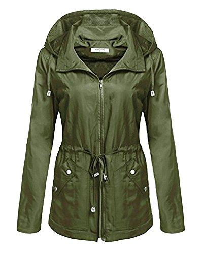 Mujer con Del Jacket Ejército Coat Mangas Abrigo Rompevientos Largas Verde Impermeable Chaqueta Capucha rwEqTpr
