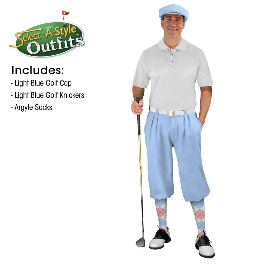 Golf Knickers Mens Select A Style Outfit - Matching Golf Cap - Light Blue - Waist 54 - Sock - White/Pink/Lt Blue by Golf Knickers