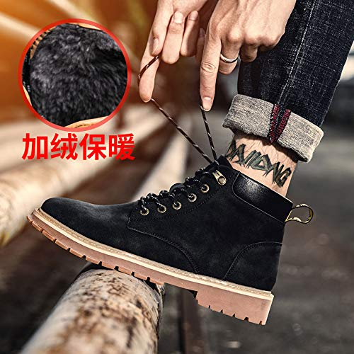 Shukun Herren Stiefel Martin Stiefel Men's High-Help Winter Cotton Gelb Stiefel In The Wild to Help Warm Cotton Schuhes Tooling