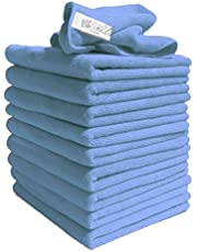 Exel Lint Free Microfibre Exel Super Magic Cleaning Cloths For Polishing, Washing, Waxing And Dusting, Blue, (Pack of 10)