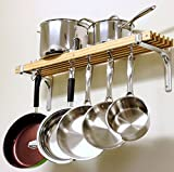 36 By 8-Inch Made With Aluminum And Wood 4 Pan Hooks And 2 Swivel Hooks Easy Installation Wall Mount Pot Rack
