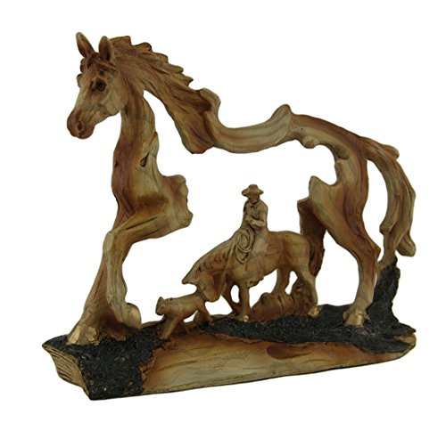 Carved Wood Statue (The Wrangler Cowboy In Horse Faux Carved Wood Openwork)