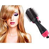 2 in 1 Hair Curling Wand, Hot Styling Brush Ceramic Barrel Curling Iron Ionic Electric Round Heated Brush Foldable Curler Straightener