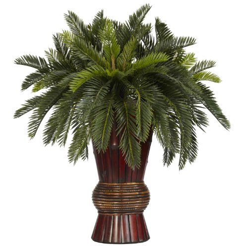 Nearly Natural 6655 Cycas with Bamboo Vase Decorative Silk Plant, Green