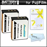 2 Pack Battery Kit For Fuji Fujifilm FinePix SL300, FinePix SL1000, FinePix S1 Digital Camera Includes 2 Extended (2000 Mah) Replacement Fuji NP-85 Batterries + LCD Screen Protectors + MicroFiber Cleaning Cloth