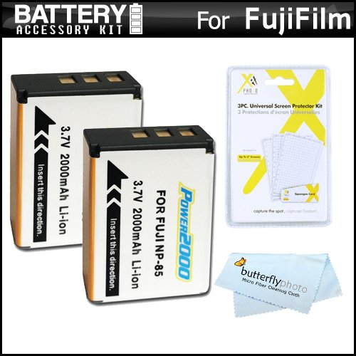 (2 Pack Battery Kit For Fuji Fujifilm FinePix SL300, FinePix SL1000, FinePix S1 Digital Camera Includes 2 Extended (2000 Mah) Replacement Fuji NP-85 Batterries + LCD Screen Protectors + MicroFiber)