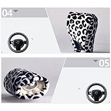 Leopard Print HONCENMAX 3 Pack Plush Vehicle Steering Wheel Cover Quality Comfy Winter Soft Car Steering Wheel Protector Universal Diameter 38cm 15