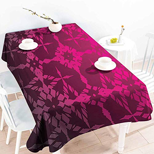 Rosewood Mix Oval - Homrkey Easy Care Tablecloth Magenta Decor Victorian Stylized Classical Bound Ornamental Mosaic Patterns Nostalgic Design Rosewood and Durable W52 xL70