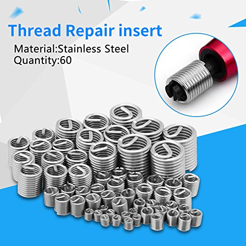 YUANDAKEJI 142pcs M3-M12 Stainless Steel Coiled Wire Screw Sleeve Thread Repair Insert Kit Helical Repair Tool for Restoring Disgraced Thread