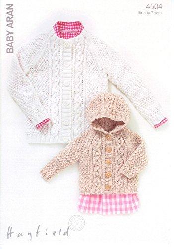Sirdar (Hayfield) Baby Aran Knitting Pattern 4504. Cardigans. Age ...