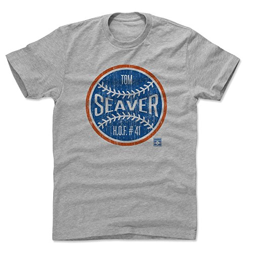 500 LEVEL Tom Seaver Cotton Shirt (X-Large, Heather Gray) - New York Mets Men's Apparel - Tom Seaver Ball B