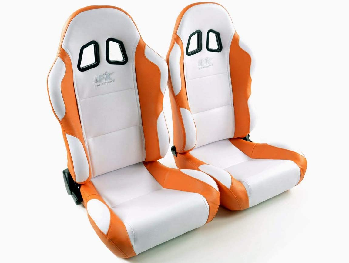 Juego de asiento ergonómico Miami piel artificial, color blanco y naranja
