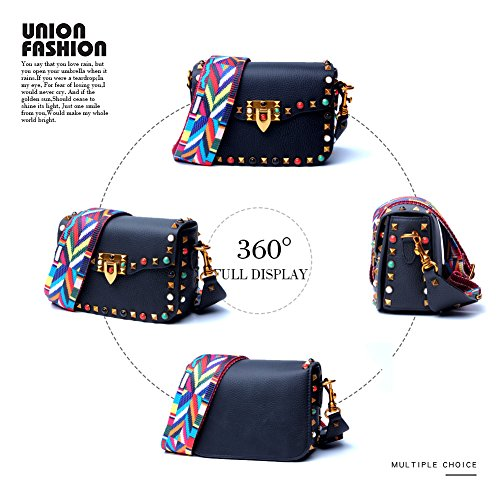 for Leather Cowhide Rivets Crossbody Yoome Black Women For Bags Designer Girls Bag Strap Mini with Colorful Bag Shoulder Clutch xwXq17qAOF