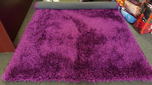 amazoncom la rug linens shimmer shag dark purple solid modern luster ultra thick