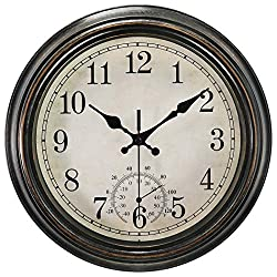 SecreShow 12 Inch Indoor Outdoor Wall Clock with Thermometer,Battery Operated Waterproof Clock,Bronze