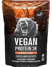 nu3 Veganistisch Eiwit 3K Shake - 1Kg Chocolademix - vegan protein gemaakt van 3-componenten eiwit met 70% eiwit - poeder voor spieropbouw met chocoladesmaak - lactosevrij en suikervrij