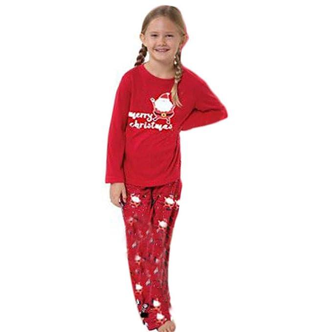 e18a781629 BaZhaHei-Navidad Familia Pijamas Ropa de Dormir Conjunto de Mujeres mamá  Papá Noel Remata Blusa Pantalones Conjunto de Pijama de Manga Larga con  Paquete ...