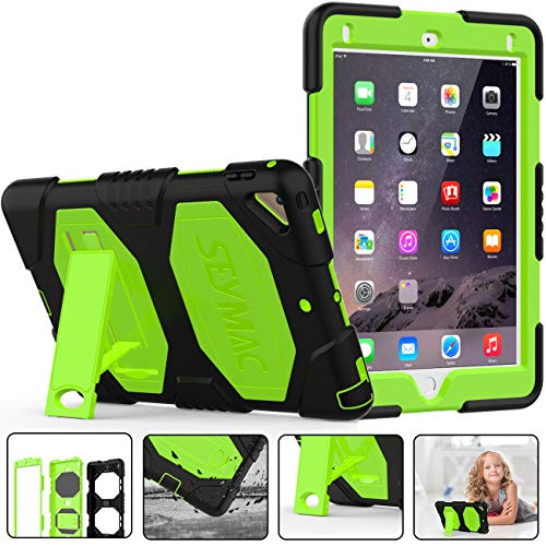New iPad 9.7 inch 2017 2018 Case,SEYMAC Three Layer Heavy Duty Soft Silicone Hard Bumper Case Shockproof Scratch Resistant Full-Body Protective Case for iPad 5th/6th Generation 2017 2018-Black/Green