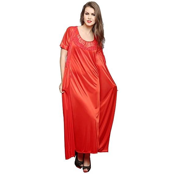 ba9ffb5f10 Clovia Women s 4 Pcs Satin Nightwear In Red - Robe