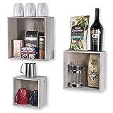 WALLNITURE Home Decor Floating Shelves Wine Rack Wooden Storage Boxes Gray Set of 3 For Sale