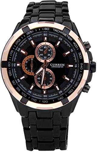 Curren Analogue Black   Rose Gold Round Dial Watch for Men