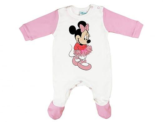 f701075a8e Disney Mädchen BABY-STRAMPLER mit Füßchen, Minnie Mouse mit Tütü Aufdruck,  in GRÖSSE
