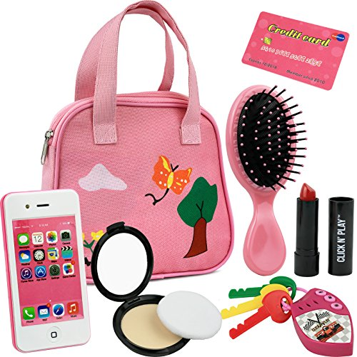 Click N' Play 8 Piece Girls Pretend Play Purse Loaded with Every Day Accessories, Including a Smartphone, Car keys, Credit Card, Lipstick etc. Lights up, Make Real Life Sounds. Batteries Not Included