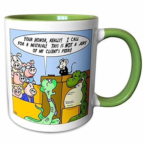 3dRose Londons Times Funny Animals Cartoons - Boa Constrictor Trial Unfair Jury - 11oz Two-Tone Green Mug (mug_1436_7)
