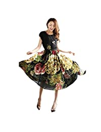 FOREVER YUNG Women's Bohemian Style Slim Fit Floral Print Short Sleeve Swing Dress
