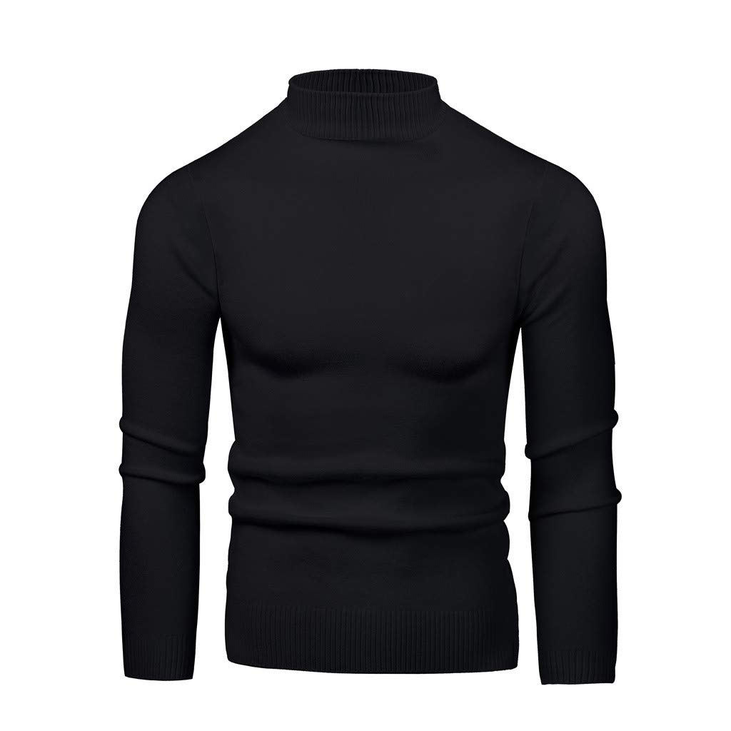 WINJUD Mens Bottoming Tops Elastic High Collar Slim Sweater Plain Long Sleeve Pullover(Black,M) by WINJUD