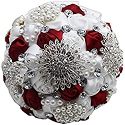 Flyme Wedding Bouquets,Bridal Bride Holding Flowers,Water Drops (White + Burgundy)