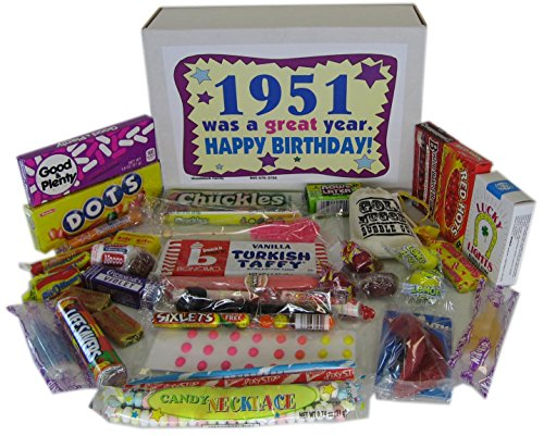 1951 66th Birthday Gift Box of Nostalgic Candy from Childhood Jr (Unique Delivery Gifts For Her)