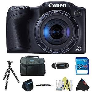 Canon PowerShot SX410 IS (Black) + Pixi-Basic Accessory Bundle