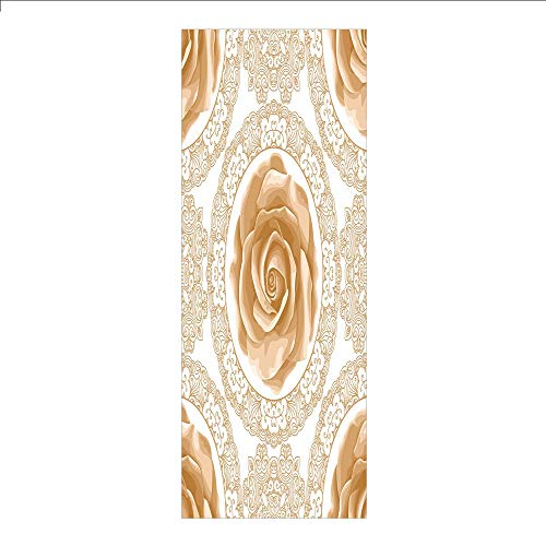(3D Decorative Film Privacy Window Film No Glue,Floral,Rose Florets with Classic Golden Lace Authentic Feminine Retro Oriental Motif,Sand Brown White,for Home&Office)
