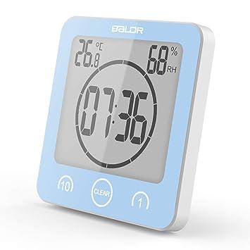 Soddyenergy LCD Reloj de Ducha Digital, Reloj de baño Reloj de Ducha Impermeable Reloj Temporizador Temperatura Humedad Pared Ducha Reloj Reloj Temporizador ...