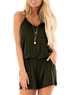 193d0b67dbe REORIA Womens Summer Loose V Neck Spaghetti Strap Short Jumpsuit Rompers
