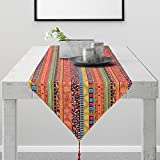 Lamberia Table Runner –Polyester Fabric Mexican Serape Table Runners for Party Decorations, Home Dinner and Festival (Red Bohemia Style, 12x108)
