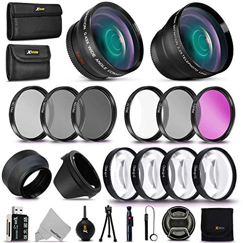 58MM Professional Lens & Filters Accessory Bundle Kit for Canon EOS Rebel T7i T7 T6i T6S T6 T5i T5 T3i SL2 SL1 EOS 80D 77D 70D 9000D 800D 760D 750D 5D Mark II III 6D 7D DSLR Cameras, 22 Accessories