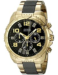 GUESS Men's U0598G4 Stainless Steel  Gold-Tone and Black Chronograph Watch