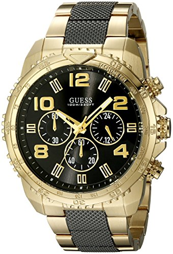 GUESS-Mens-U0598G4-Sporty-Gold-Tone-Watch-with-Chronograph-Dial-and-Deployment-Buckle