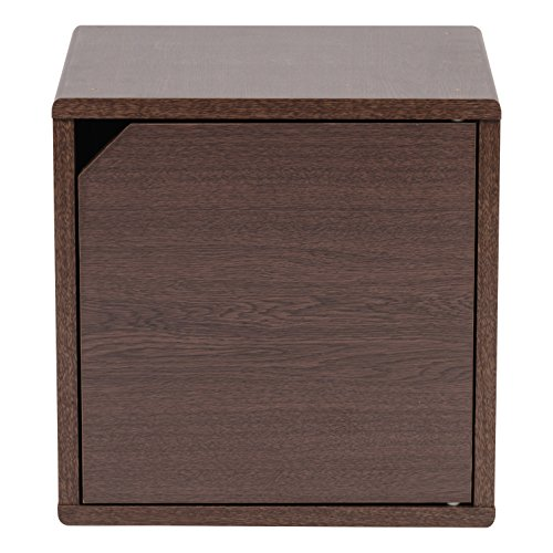 IRIS USA, QR-34D, Wood Storage Cube with Door, Brown Oak, 1 Pack by IRIS USA, Inc. (Image #2)
