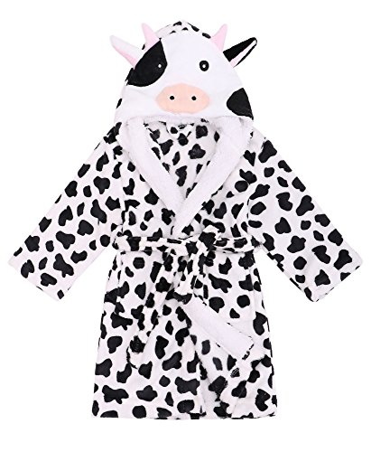Children Robe  Zoo Crew Fuzzy Sherpa Lined Hooded Animal Bathrobe,Cow,L(7-10 Years)Sherpa Lined Hooded Animal Bathrobe - Cow l(7-10 years) - Soft Cow