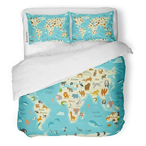 (Emvency Decor Duvet Cover Set Twin Size Kid of World Map with Animals Child Safari Ocean Graphic Cute Cartoon Earth 3 Piece Brushed Microfiber Fabric Print Bedding Set Cover )