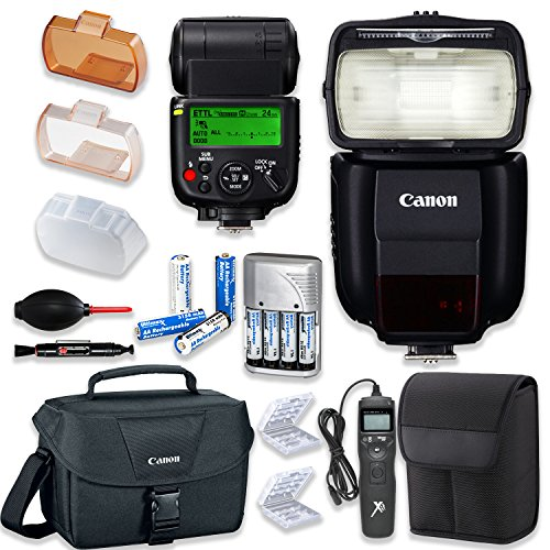 Canon Speedlite 430EX III-RT Flash with Canon Speedlite Case + Canon Shoulder Bag + Universal Timer Remote + 4 High Capacity AA Rechargeable Batteries & Charger + Accessory Bundle